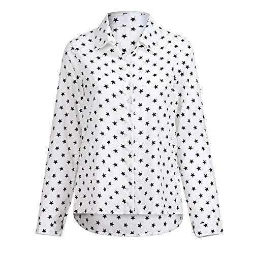 T Chic Imprimer Femme Tops toiles Blanc Bringbring Chemisier de Longues Shirts Manches Travail Blouse 0pwSxwUq
