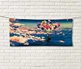 Anniutwo Adventure,Sports Ttowel,Man Flying Colorful Balloons in The Sky on Clouds Miracle Paint Print,Absorbent Towel,Coral Blue Size: W 12'' x L 35.5''