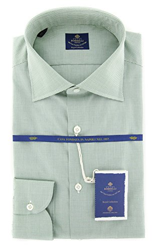 new-luigi-borrelli-green-micro-check-extra-slim-shirt