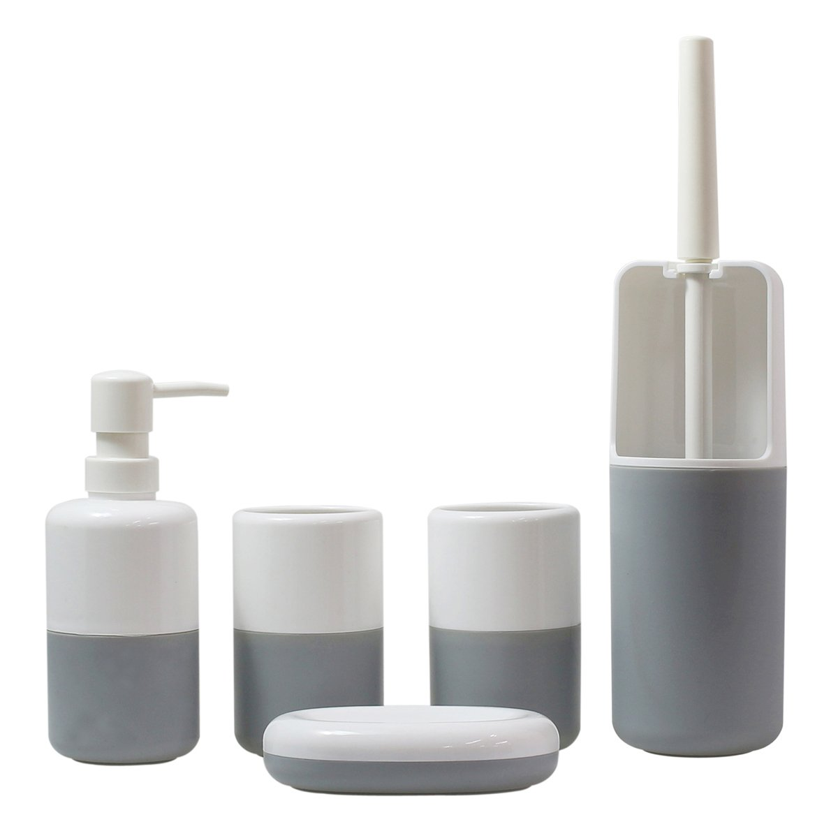 Justnile 5 piece bathroom accessory set stylish plastic for Grey bathroom accessories set
