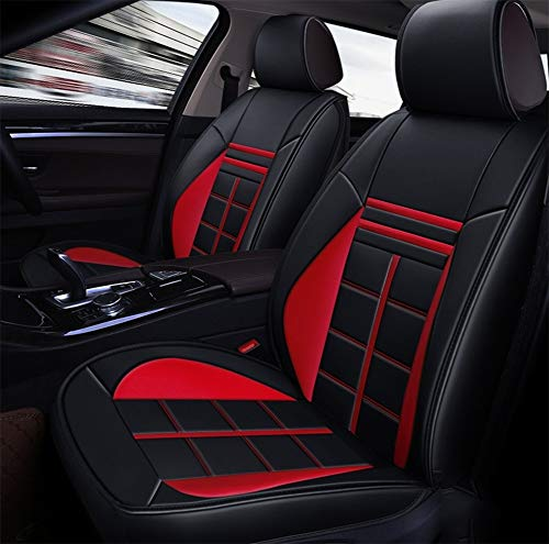Easy to Clean PU Leather Car Seat Cushions 5 Seats Full Set - Universal Fit Cover Anti-Slip Suede Backing Adjustable Bench for 99% Types of Cars,Red: