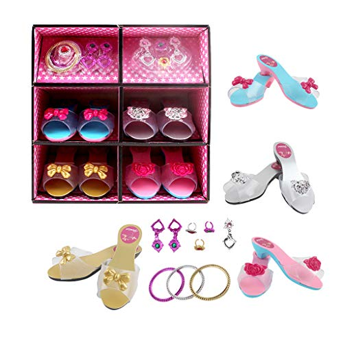 Koolee Princess Dress Up and Play Shoe and Jewelry Boutique,Princess Dress up Shoes Role Play Collection Set with Princess Tiara and Bracelets for Little Girls (Free, Multicolor) from Koolee
