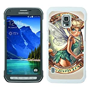 Samsung Galaxy S5 Active Case ,Fashion And Unique Designed Samsung Galaxy S5 Active Case With Lovely Tinkerbell White Hight Quality Cover