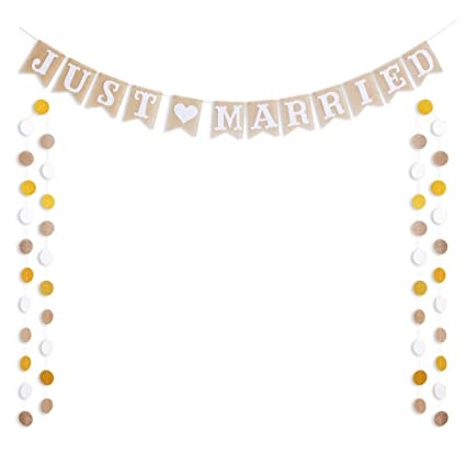 6dec462e3cd44 ALOHA JUST Married Banner Burlap Flag with Circle Dots Garland for Wedding  Decorations Linen Natural Fiber