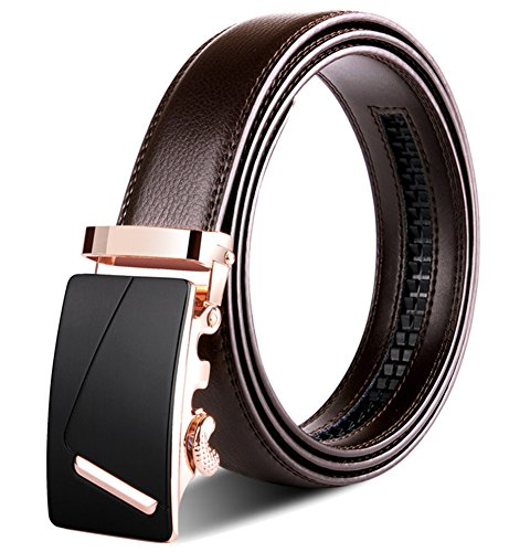 Xhtang Men\'s Ratchet Belt Automatic Buckle Business Leather belt