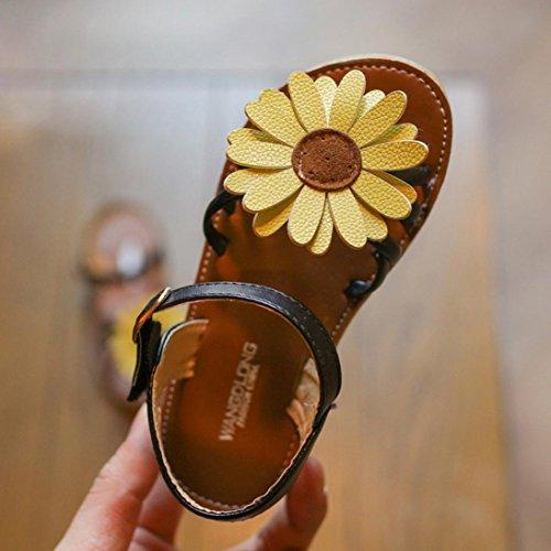 Slipper kühlen Kinder Schuhe Sunflower PU Sandalen Schwarz goldene Mädchen Prinzessin Roman IGEMY TqwaBYB