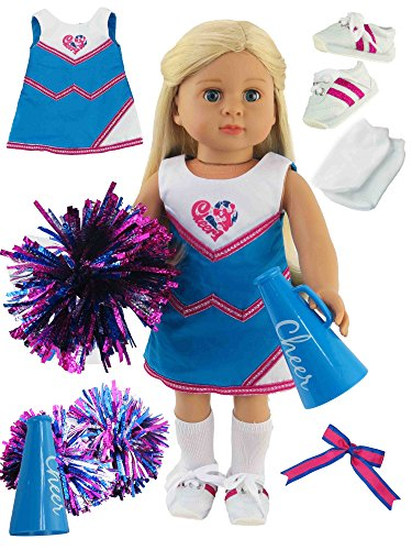 Hot Pink and Teal Cheerleading Outfit Cheerleader Uniform with Poms, Teal Megaphone, Sock, and Shoes | Fits 18