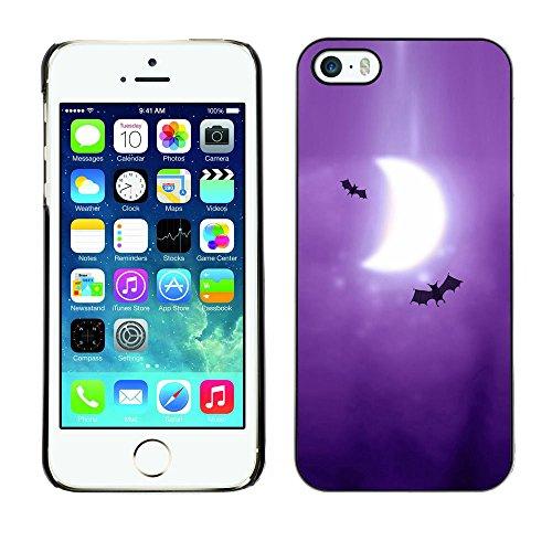TaiTech / Case Cover Housse Coque étui - Bats Art Drawing Purple Moon Crescent - Apple iPhone 5 / 5S