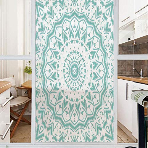 Decorative Window Film,No Glue Frosted Privacy Film,Stained Glass Door Film,Mandala Tribal Ethnic Design Tie Dye Floral Leaves Seem Design Image Art Print,for Home & Office,23.6In. by 78.7In Sea Green