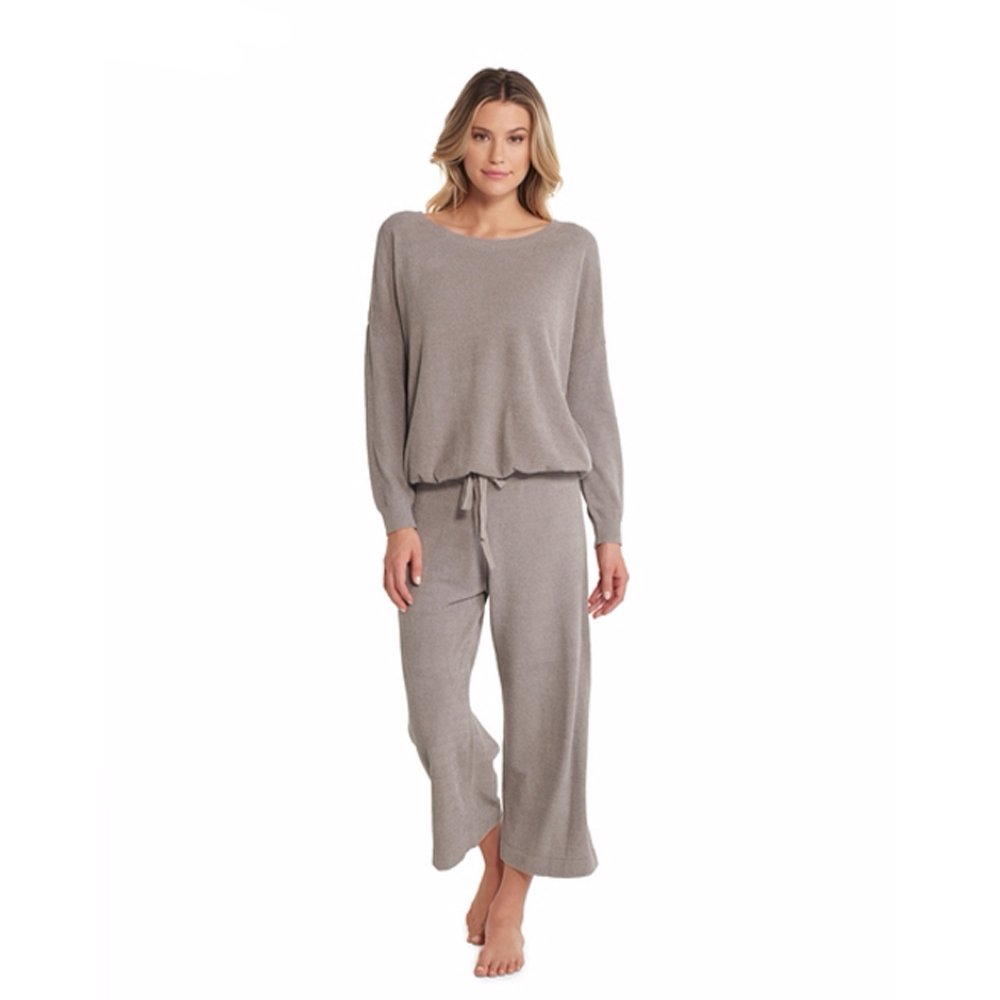 Barefoot Dreams CozyChic Ultra Lite Slouchy Pullover For Women, Ultra Soft Long Sleeve, Crew Neck Pullover, Beach Rock, Medium