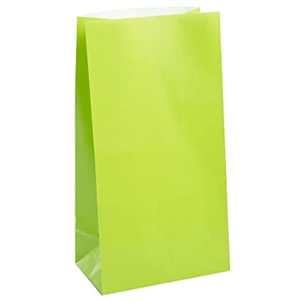 Unique Party- Paquete de 12 bolsas de regalo de papel, Color verde lima, 30 (59017)