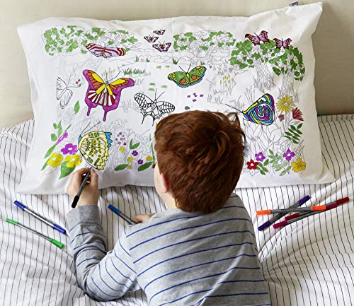 eatsleepdoodle Color & Learn Cotton Butterfly Pillowcase - Educational, Fun World Butterflies to Color-in with wash-Out pens (Best Case In The World)