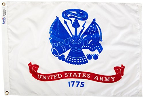 Annin Flagmakers Model 439033 U.S. Army Military Flag Nylon SolarGuard NYL-Glo, 2x3 ft, 100% Made in USA Specifications. Officially Licensed