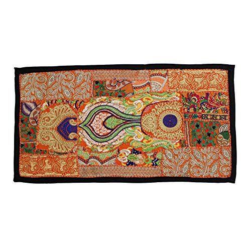Vintage Embroidered Patchwork Traditional Living Room Beautiful Head Board Decorative Fine Art Bedroom Design Home Decor Indian Wall Hanging ()