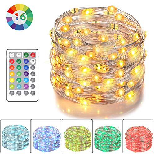 Asmader LED Fairy Lights, Battery Powered Multi Color Changing String Lights with Remote Control Waterproof Decorative Silver Wire Lights 16ft 50LEDs for Bedroom,Patio,Indoor,Party,Garden, Party(RGB) from Asmader