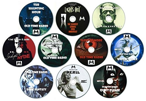 Old Time Radio Horror Collection (OTR) 10 x MP3 CD's (Audiobooks) Nightfall, Quiet Please, Sleep No More, Lights Out, Haunting Hour, Frankenstein, Jekyll and Hyde, Witch's Tale, Dark Fantasy, Peril