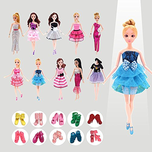 J& L Doll Clothes Accessary Suit, 10 Pcs Party Gown Outfits with 10 Pairs Shoes, Great Gift for Girl's Birthday and Christmas -