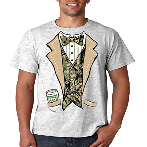 Juiceclouds Camo Tuxedo T Shirt Beer in My Pocket Mens Tee S-5XL (Ash Gray, 2XL) ()