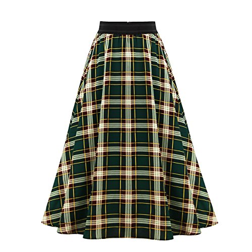 Women's A Line Vintage Maxi Skirts Checkered Print for sale  Delivered anywhere in USA
