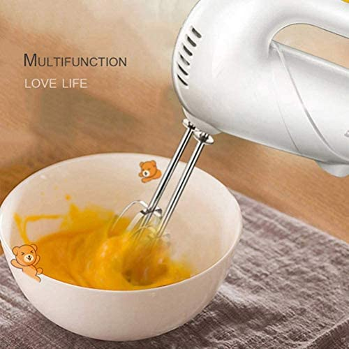 JJSFJH Professionele elektrische handmixer, 220 V, voor taarten, eieren, slagroomgerechten, 5 snelheden, wit