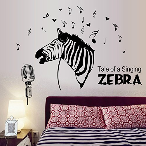 Flowers Butterfly Wall Stickers Cartoon Animals Height Measurement Wall Decals Home Decor PVC Art Mural Baby Boys Girls Kids Bedroom Kitchen Decoration (Singing Zebra Muisc Notes)