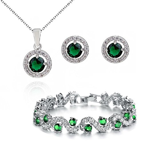 Round Green Simulated Emerald Zirconia Crystals Set Pendant Necklace Earrings Bracelet 18 ct White Gold Plated