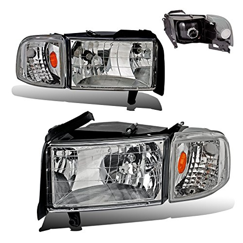 SPPC Crystal Headlights Chrome Assembly Set with Corner Light For Dodge Ram - (Pair) Includes Driver Left and Passenger Right Side Replacement Headlamp (Ram Corner Light)