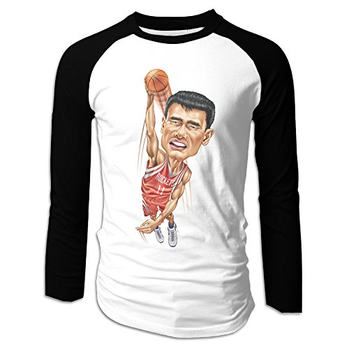UglyBee Yao Ming Houston Rockets Men's Long Sleeve Raglan Tshirti, Color BlackSize XXL