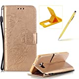 Strap Case for Samsung Galaxy S6 Edge,Wallet Leather Cover for Samsung Galaxy S6 Edge,Herzzer Classic Elegant [Gold Butterfly Pattern] PU Leather Fold Stand Card Holders Smart Phone Case for Samsung Galaxy S6 Edge + 1 x Free Yellow Cellphone Kickstand + 1 x Free Yellow Stylus Pen