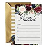 15 Navy Floral Invitations with Gold Envelopes for Baby Shower, Wedding, Rehearsal Dinner or Party