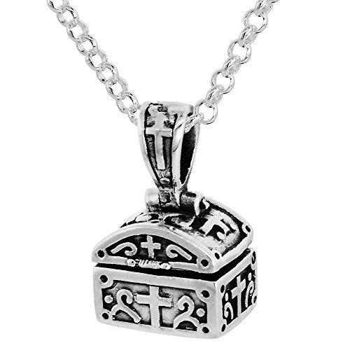 Sterling Silver Prayer Box Necklace Shaped like a Chest Cross Motif, 3/8 inch 18 inch Chain (Shaped Prayer Box)
