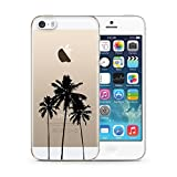 clear back bumper iphone 5s - iPhone 5S Case,iPhone SE Case,iPhone 5 Case uCOLOR California Palm Tree Hard PC Back+TPU Bumper Transparent Crystal Clear for iPhone 5/5S/SE with Slim Tempered Glass Screen Protector