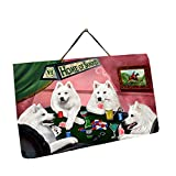 Home of Samoyed 4 Dogs Playing Poker Photo Slate Hanging