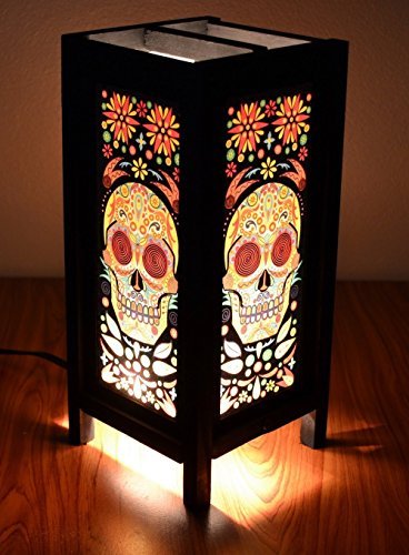 Decorative Lamp Thai Vintage Handmade Asian Oriental Fantasy Skull Bedside Table Light Floor Wood Paper Lamp Shades Home Bedroom Garden Decoration Modern Design By Copter (Chloe's Closet Halloween)
