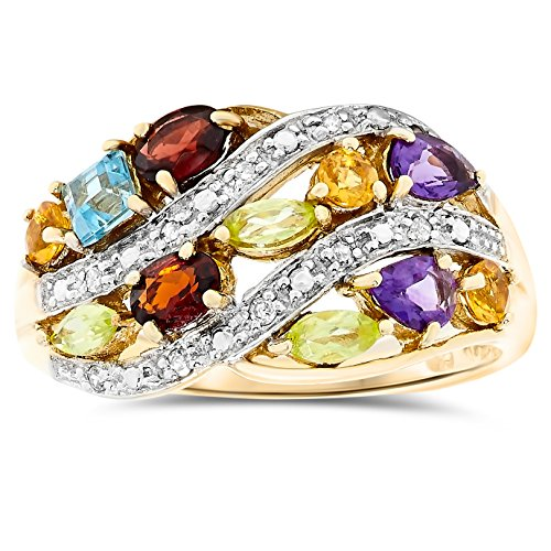 14k Gold Multi Gemstone Ring - JewelryBliss 14k Yellow Gold Natural Genuine Multi-Color Gemstone and Diamond Ring