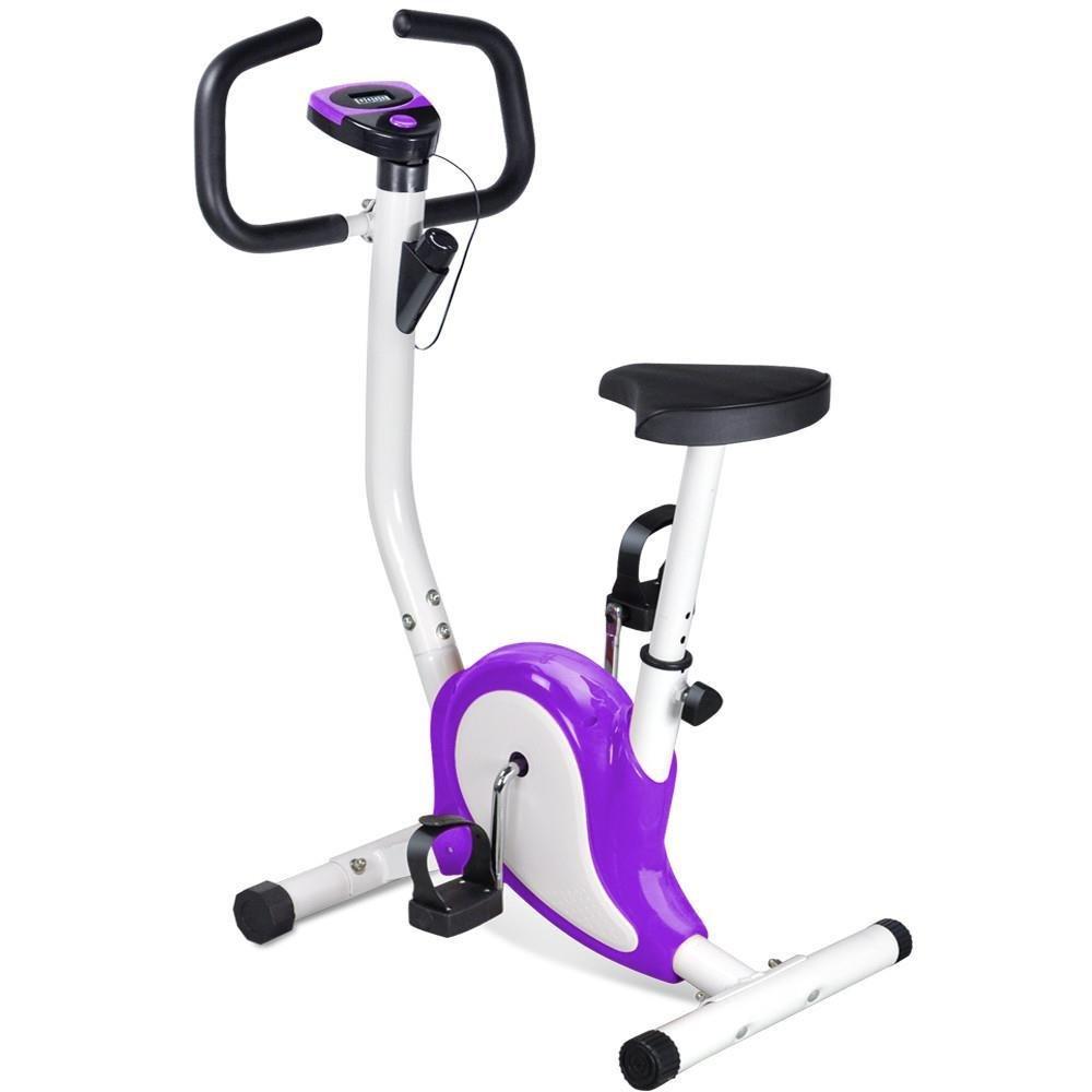 Popamazing Adjustable Height Training Exercise Bike LCD displaying Indoor trainer Bike, Purple