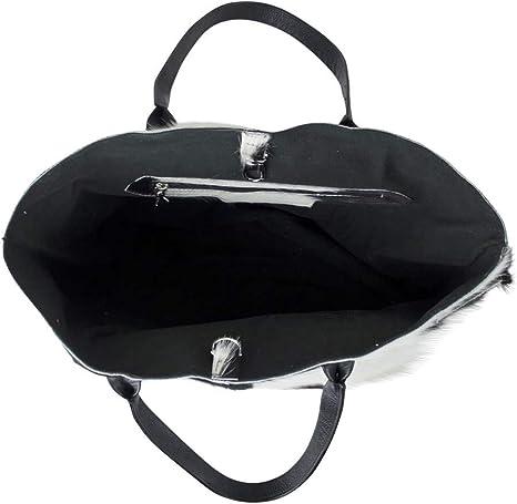 Edle Handtasche Kuhfell Schwarz Weiss 50cm Tasche Shopper Leder Ledertasche Neu