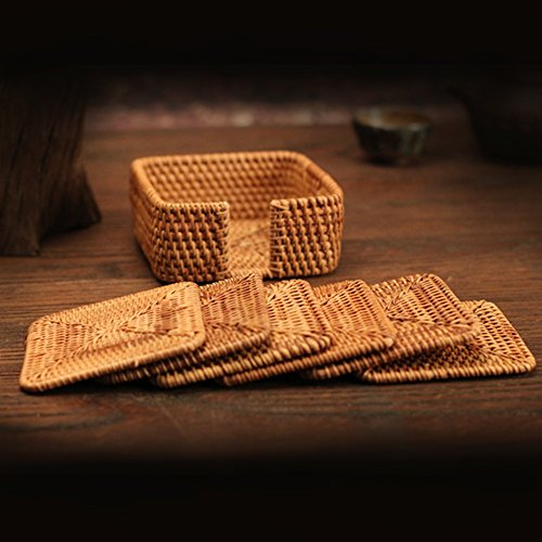 """yazi Hand-woven Rattan Coasters With Multipurpose Coaster Holder Exotic Handmade Teacup coasters 3"""" Set of 7 Square"""