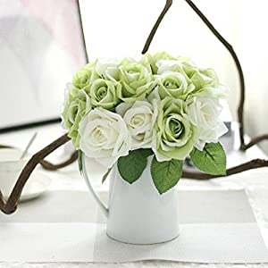 Tuscom Artificial Peony Silk Flowers,9 Heads Rose Bouquet Home Wedding Decoration Flowers Bunch Hotel Party Garden Floral Decor (Not Included Vase) (Green) 1