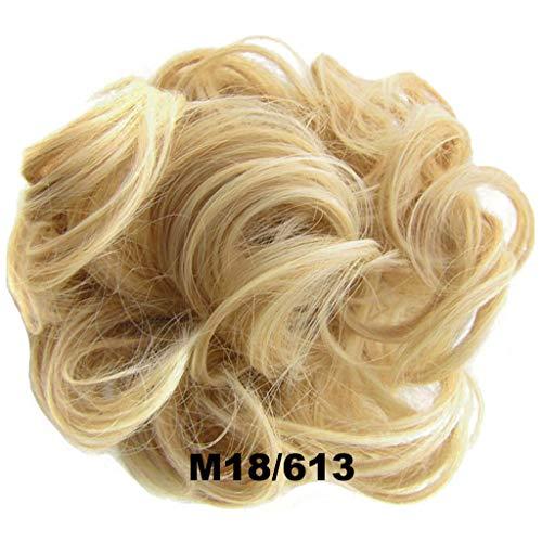 PrettyWit Hair Bun Updo Extensions Chignons Hair Piece Wig Scrunchy Scrunchie Hairpiece Ribbon Ponytail Bridal Drawstring-Medium Brown and Bleach Blonde M18/613