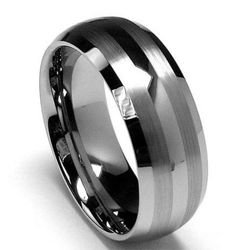 King Will TYRE Men's 8mm Tungsten Carbide Ring Wedding Engagement Band Matte/Brushed Finish Lines(11) (Mens Ring Modern)