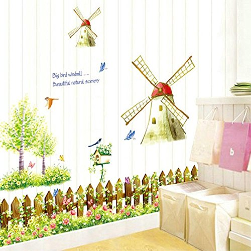 BIBITIME Garden Fence Flower Wall Art Butterfly Birdhouse Sayings Big Bird Windmill Beautiful nature scenery Quotes Decal Sticker for Living Room Nursery (Antique Store Birdhouse)