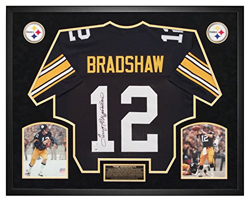 Terry Bradshaw Pittsburgh Steelers Autographed Jersey Framed Shadow Box PSA Certified