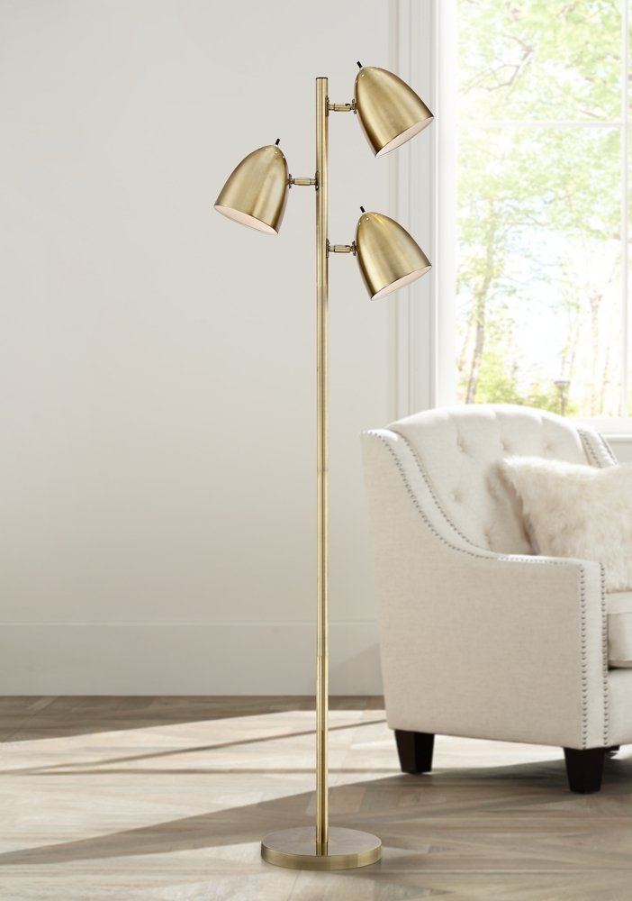 Aaron aged brass 3 light floor lamp amazon com
