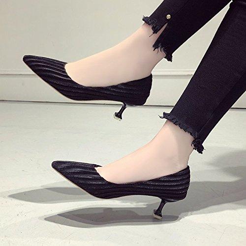 Qiqi Negro versátil con Zapatos zapatos negro chica con y punta 3cm solo Zapatos zapatos tacón Baja Xue baja de 4xP0Ud4