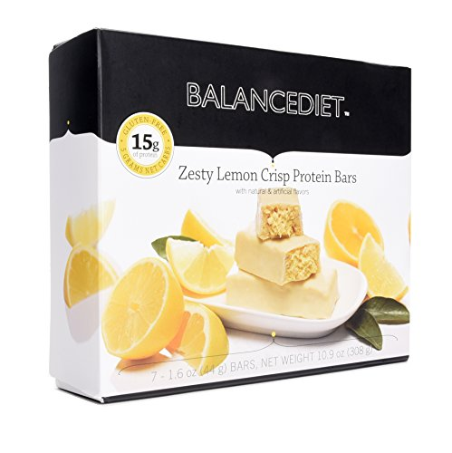 BalanceDiet™ | Protein Bar | 15g of Protein | Low Carb | 7 Bar Box (Zesty Lemon Crisp) -