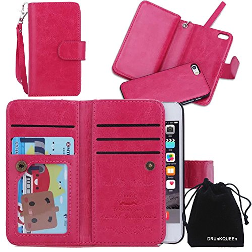 iPhone 5s Case, DRUnKQUEEn TM Wallet PU Leather Flip Card Holder Clutch Purse, 2 in 1 Detachable Magnetic Back Cover for iPhone5 / iPhone5s