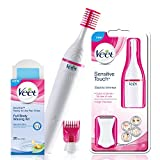 Veet Sensitive Touch Electric Trimmer with Veet Wax Kit for Sensitive Skin, 20 Pieces (Pink)