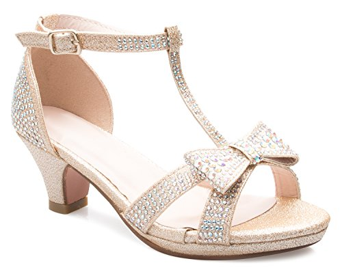 OLIVIA K Girl's Glitter Leatherette Open Toe Strappy Ankle T Strap Kitten Heel Sandal (Toddler/ Little Girl)