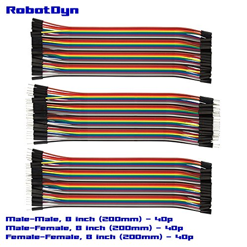 pont wires, KIT: Male to Female (M/F) 1x40p, Male to Male (M/F) 1x40p, Female to Female (M/F) 1x40p, 3 ribbons (8